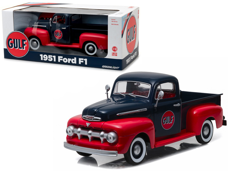 1951 Ford F-1 Pickup Truck Gulf Oil 1/18 Diecast Model Car Greenlight 12978