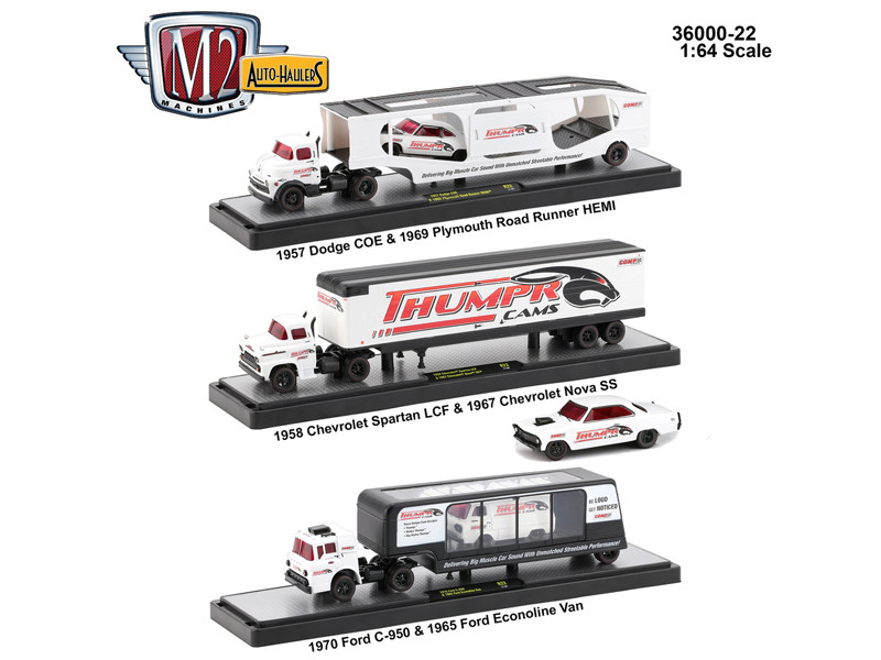 Auto Haulers Release 22 3 Trucks Set 1/64 Diecast Models M2 Machines 36000-22