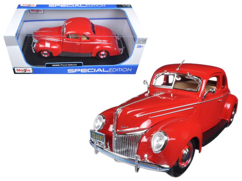 1939 Ford Deluxe Tudor Red 1/18 Diecast Model Car Maisto 31180