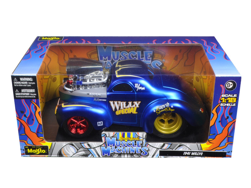 1941 Willys Coupe Blue Muscle Machines 1/18 Diecast Model Car Maisto 32202