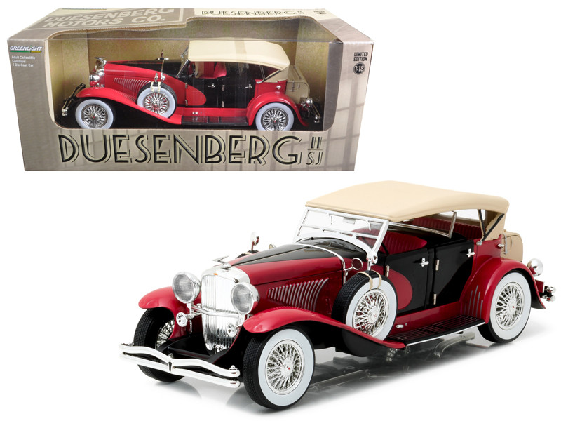 1934 Duesenberg II SJ Red and Black 1/18 Diecast Model Car Greenlight 12995