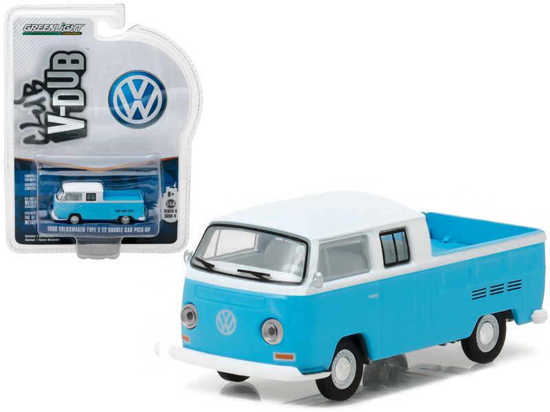 1968 Volkswagen Type 2 T2 Crew Cab Pickup White and Blue 1/64 Diecast Model Car Greenlight 29860 C
