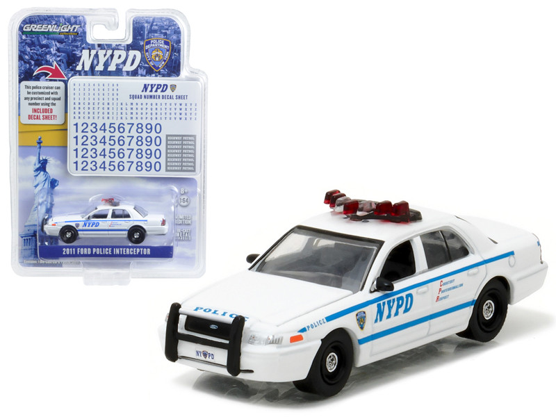 2011 Ford Crown Victoria Police New York Police Department with NYPD Squad Number Decal Sheet Hobby Exclusive 1/64 Diecast Model Car Greenlight 42771