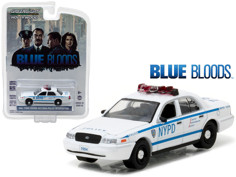 2001 Ford Crown Victoria Police Interceptor New York City Department NYPD Blue Bloods TV Series 2010-Current 1/64 Diecast Model Car Greenlight 44760 D