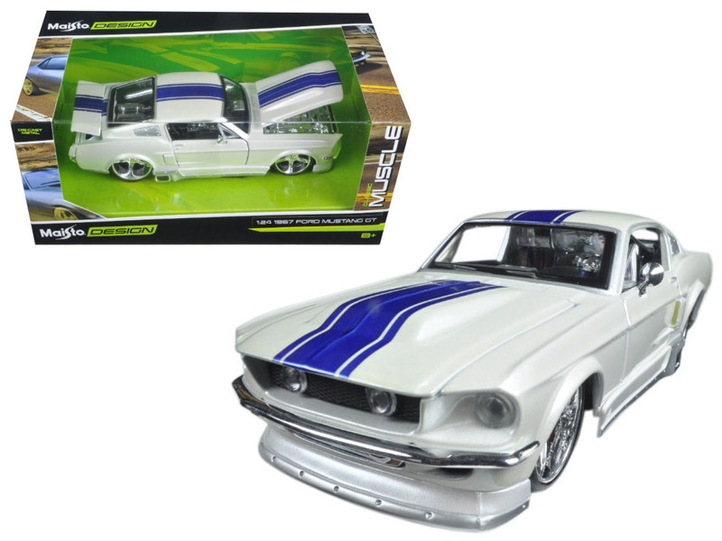 1967 Ford Mustang GT White with Blue Stripes