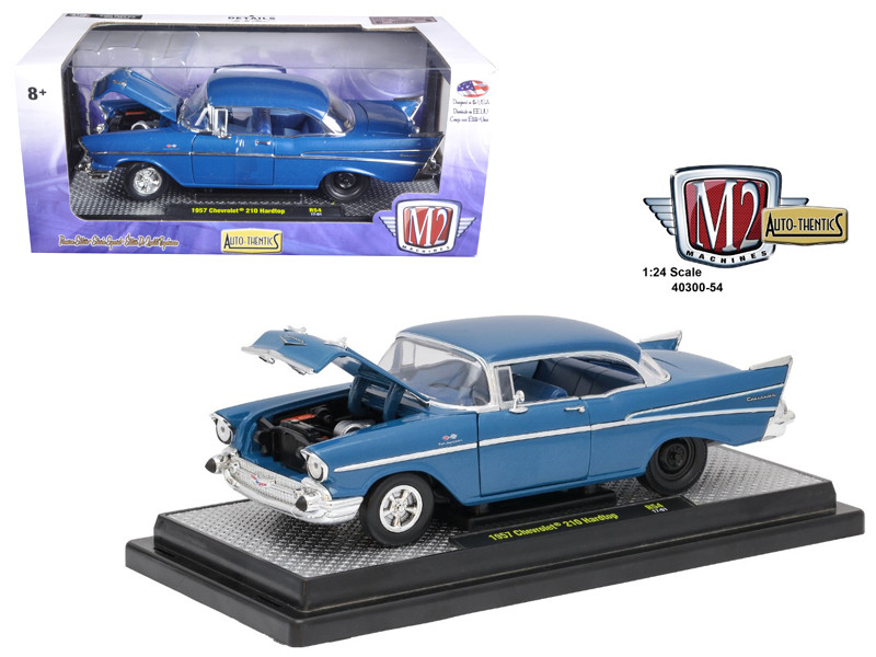 1957 Chevrolet 210 Hardtop Sleeper Hot Rod Drag Car Harbor Blue Metallic 1/24 Diecast Model Car M2 Machines 40300-54 A