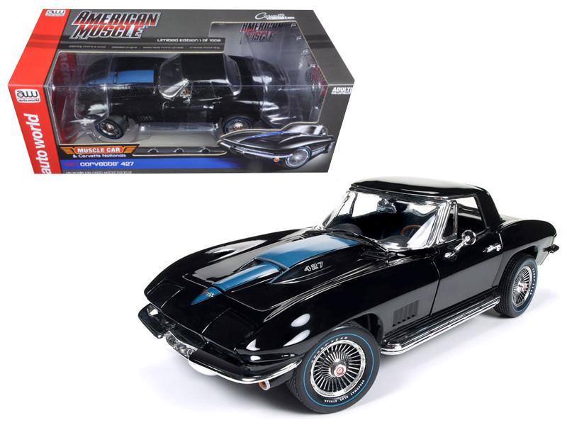 1967 Chevrolet Corvette 427 Tuxedo Black MCACN Limited Edition to 1002 pcs 1/18 Diecast Model Car Autoworld AMM1099