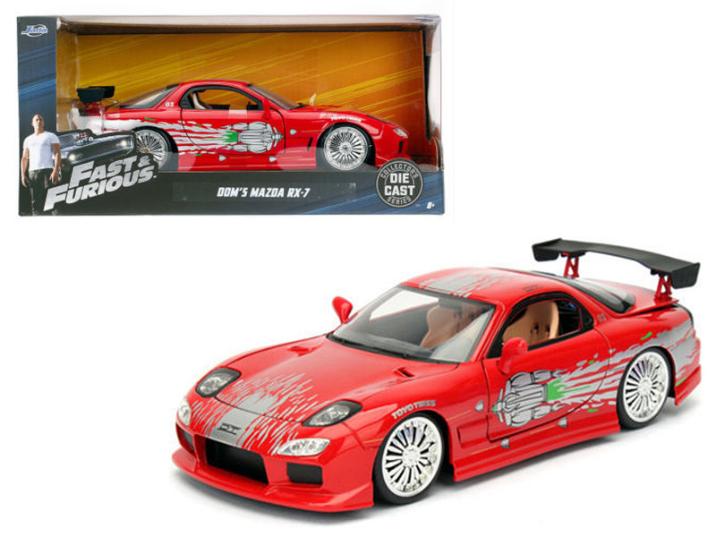 Dom's Mazda RX-7 Red Fast and Furious Movie 1/24 Diecast Model Car Jada 98338