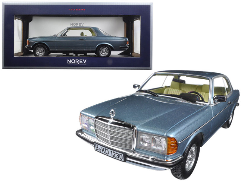 1980 Mercedes 280 CE Silver Blue Metallic 1/18 Diecast Model Car Norev 183588