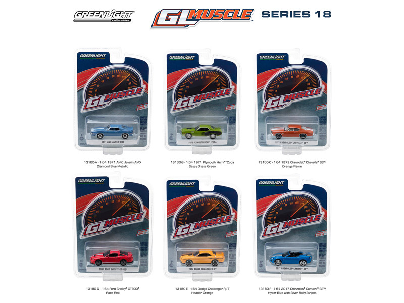 Greenlight Muscle Series 18 6pc Diecast Car Set 1/64 Diecast Model Cars Greenlight 13180