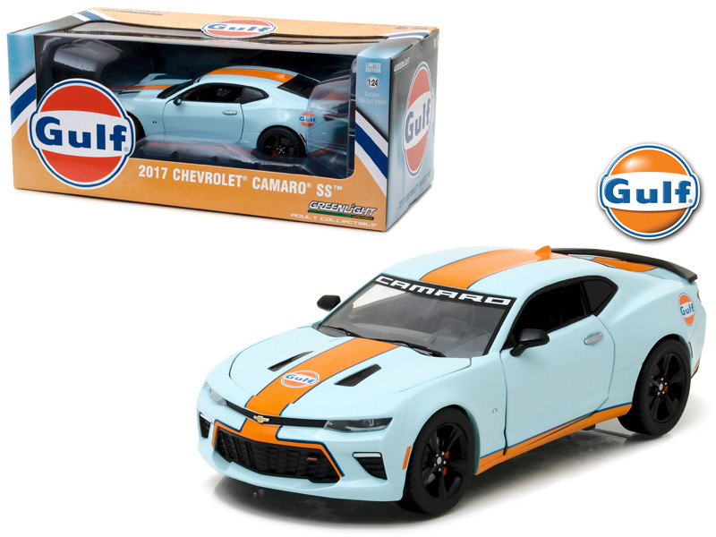 2017 Chevrolet Camaro SS Gulf Oil Racing 1/24 Diecast Model Car Greenlight 18233