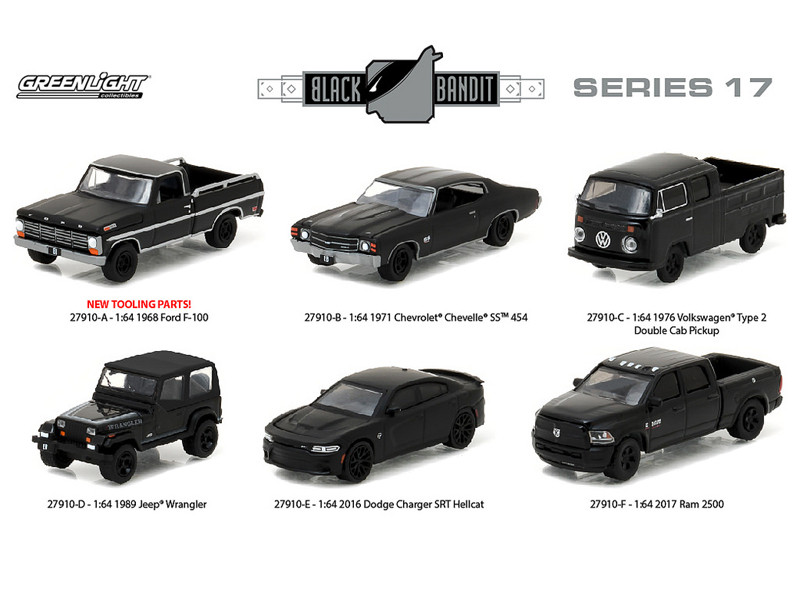 Black Bandit Series 17 6pc set 1/64 Diecast Model Cars Greenlight 27910