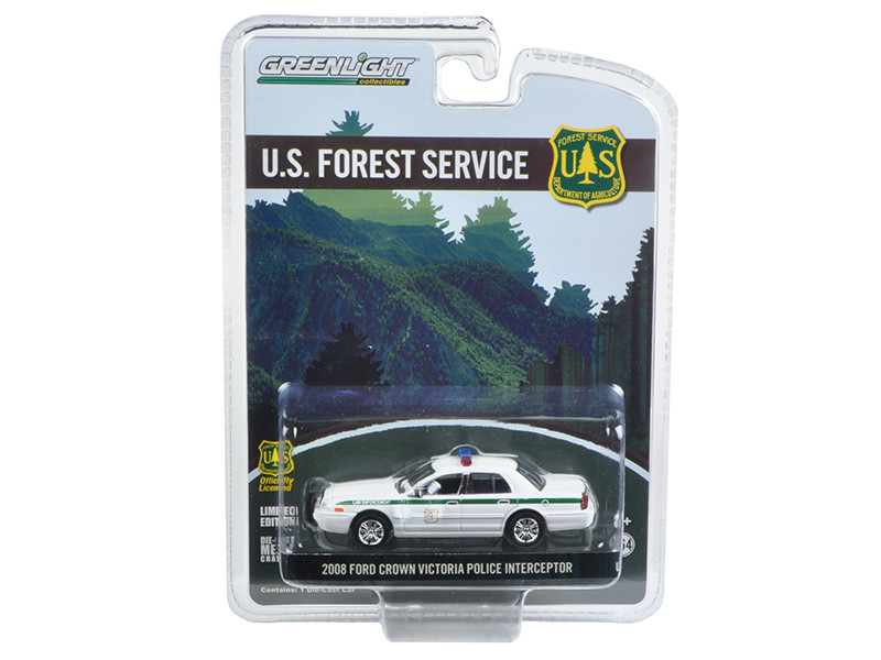2008 Ford Crown Victoria Police Interceptor Forest Service USFS Hobby Exclusive 1/64 Diecast Model Car Greenlight 29879