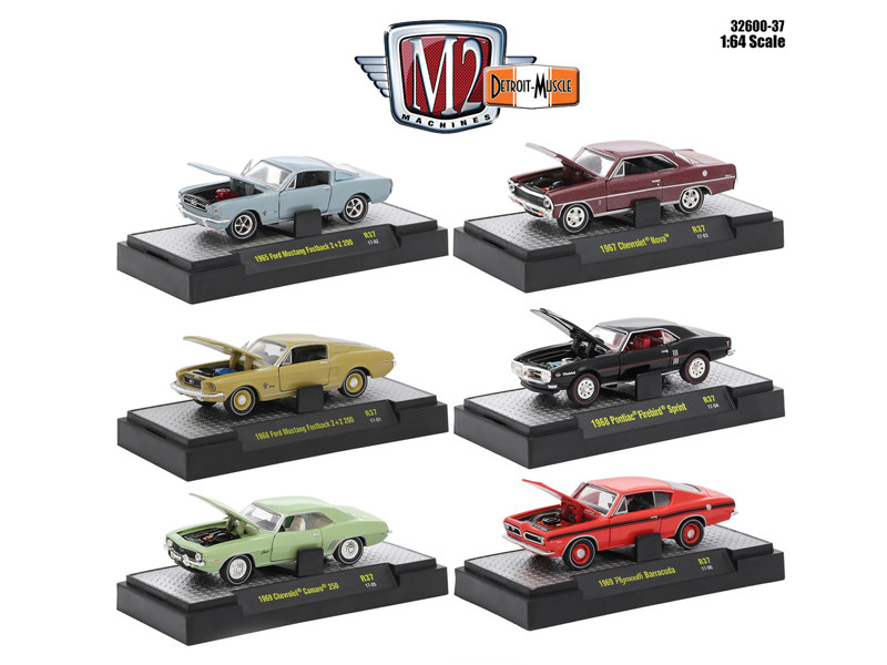 Detroit Muscle 6 Cars Set Release 37 IN DISPLAY CASES 1/64 Diecast Model Cars M2 Machines 32600-37