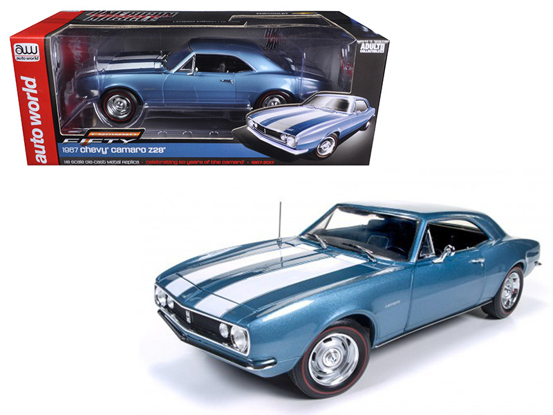 1967 Chevrolet Camaro Z/28 50th Anniversary Nantucket Blue Limited Edition to 1002 pcs 1/18 Diecast Model Car Autoworld AMM1101