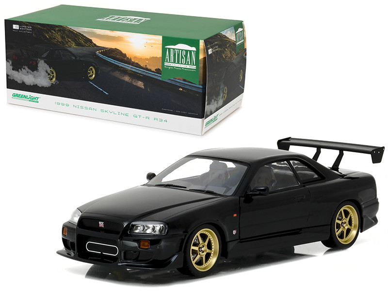 1999 Nissan Skyline GT-R R34 Black 1/18 Diecast Model Car Greenlight 19030