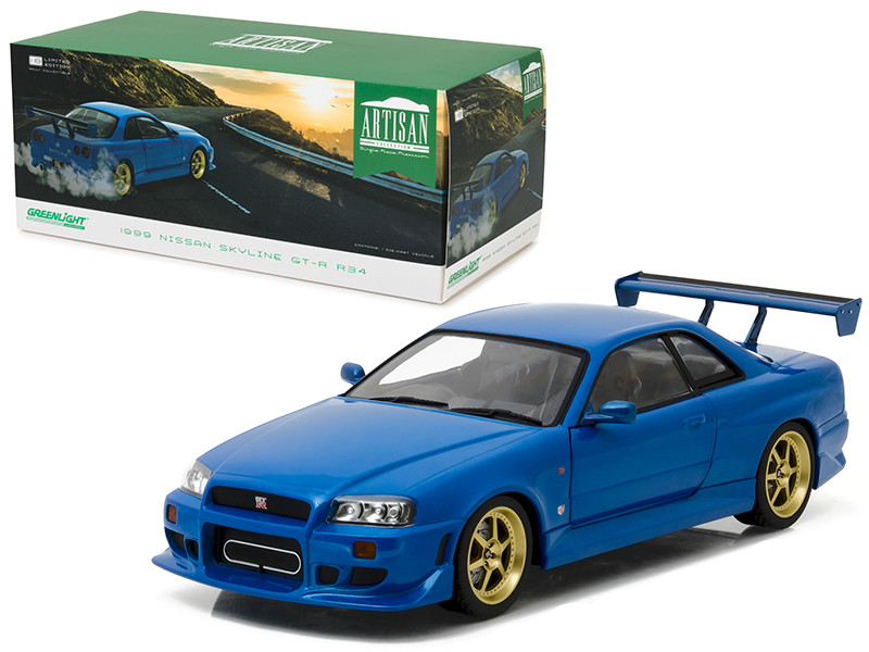 1999 Nissan Skyline GT-R R34 Bayside Blue 1/18 Diecast Model Car Greenlight 19032