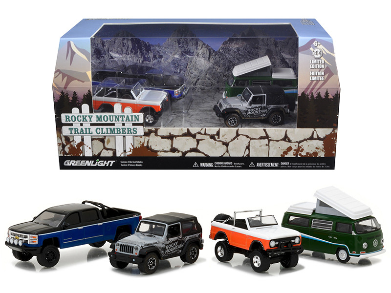 Motor World Diorama Rocky Mountain Trail Climb 4pcs Set 1/64 Diecast Model Cars Greenlight 58038