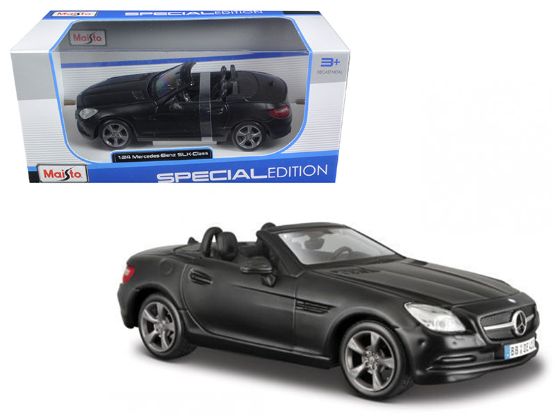 2011 2012 Mercedes SLK Class Convertible Matt Black 1/24 Diecast Model Car Maisto 31206