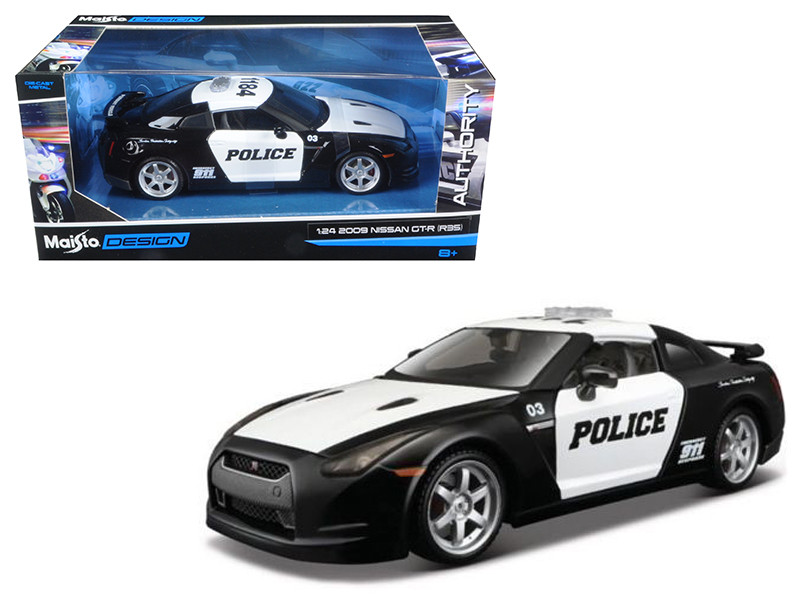 2009 Nissan GT-R R35 Police Car Black and White 1/24 Diecast Model Car Maisto 32512
