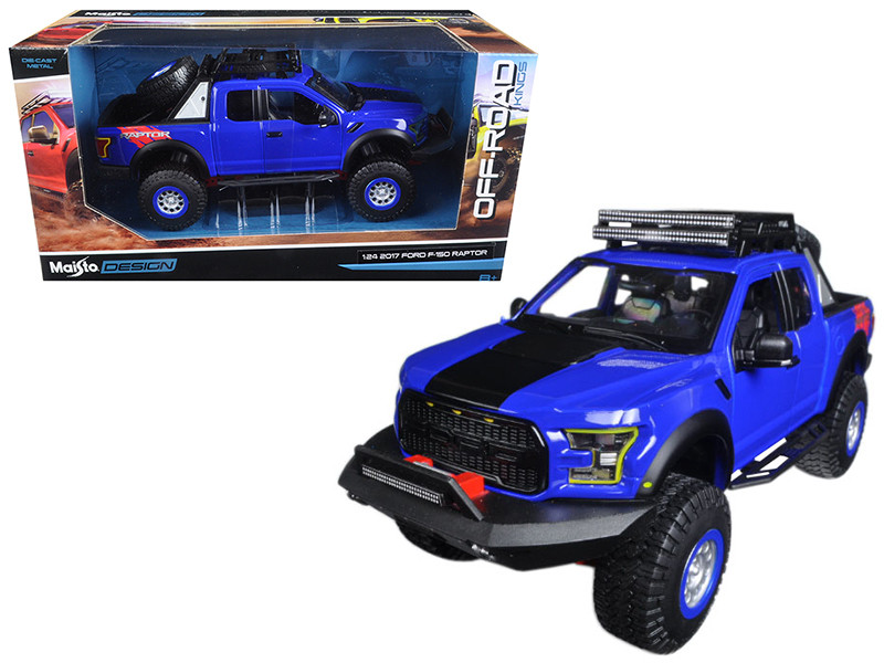 2017 Ford F-150 Raptor Pickup Truck Blue Off Road Kings 1/24 Diecast Model Car Maisto 32521