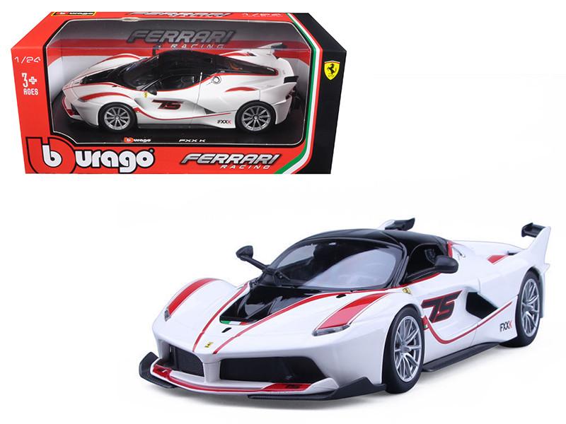 Ferrari Racing FXX-K #75 White 1/24 Diecast Model Car Bburago 26301