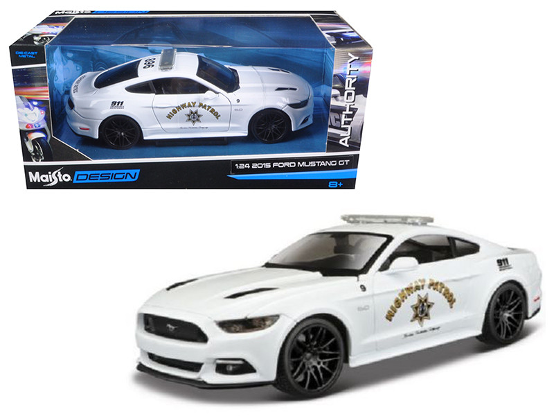 2015 Ford Mustang GT 5.0 Highway Patrol Police Car White 1/24 Diecast Model Car Maisto 32514