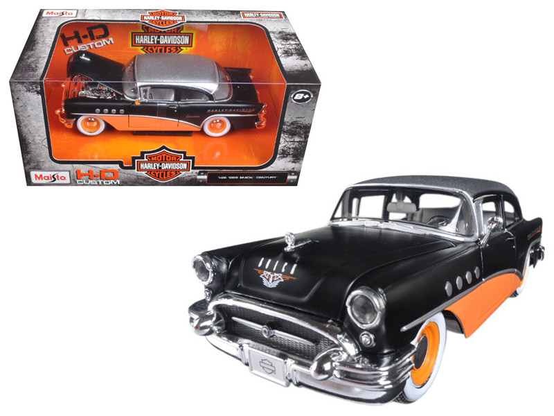 1955 Buick Century Harley Davidson Black Orange 1/26 Diecast Model Car Maisto 32197