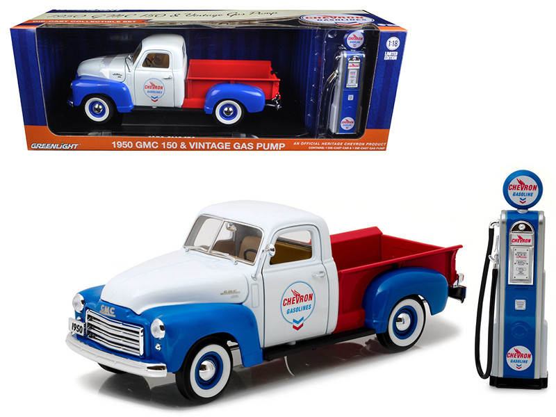 1950 GMC 150 Pickup Truck Chevron with Vintage Gas Pump 1/18 Diecast Model Car Greenlight 12992