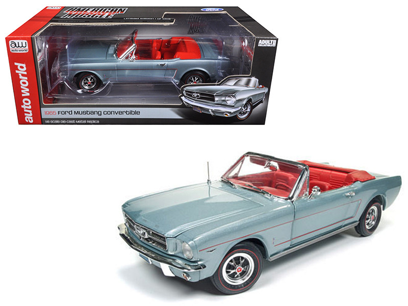 1965 Ford Mustang Convertible Silver Smoke Gray Limited Edition to 1002pcs 1/18 Diecast Model Car Autoworld AMM1103