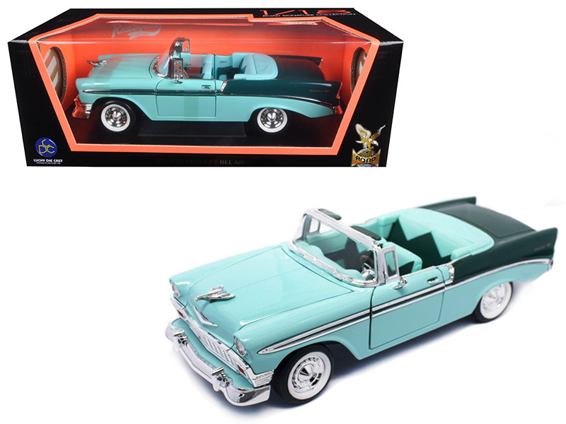 1956 Chevrolet Bel Air Convertible Green Black 1/18 Diecast Model Car Road Signature 92128