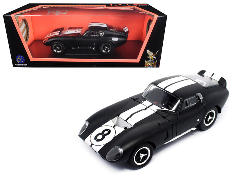 1965 Shelby Cobra Daytona Coupe #8 Matt Black 1/18 Diecast Model Car Road Signature 92408