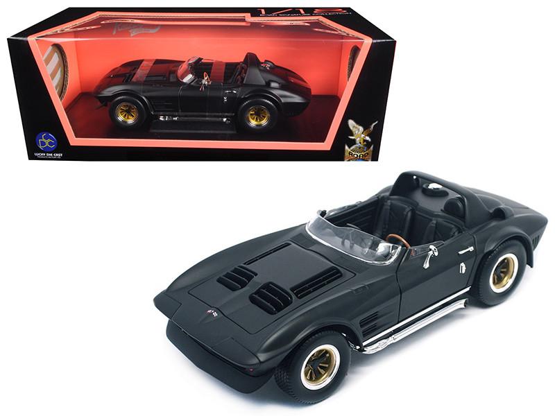 1964 Chevrolet Corvette Grand Sport Roadster Matt Black 1/18 Diecast Model Car Road Signature 92697