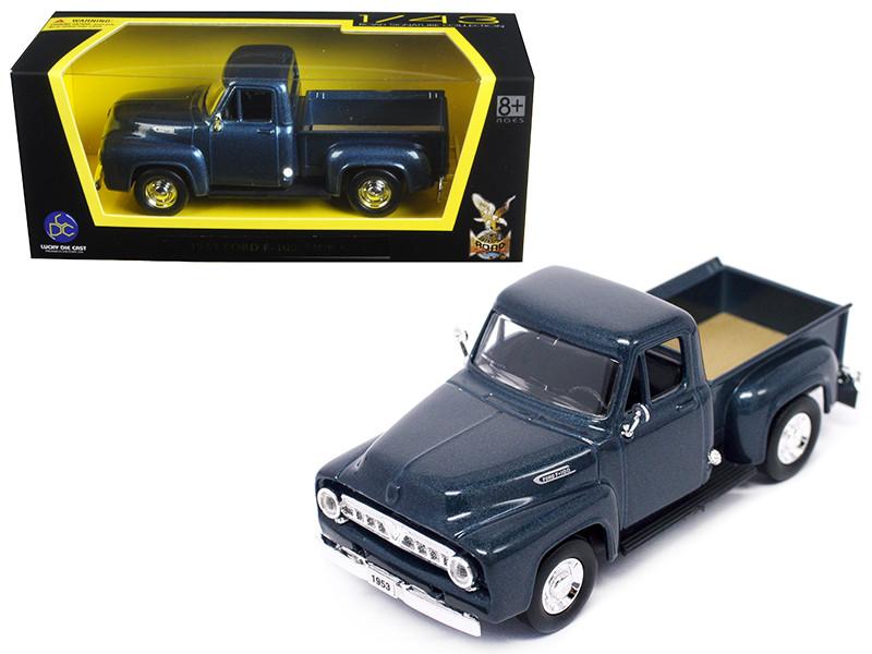 1953 Ford F-100 Pick Up Truck Dark Blue 1/43 Diecast Car Model Road Signature 94204