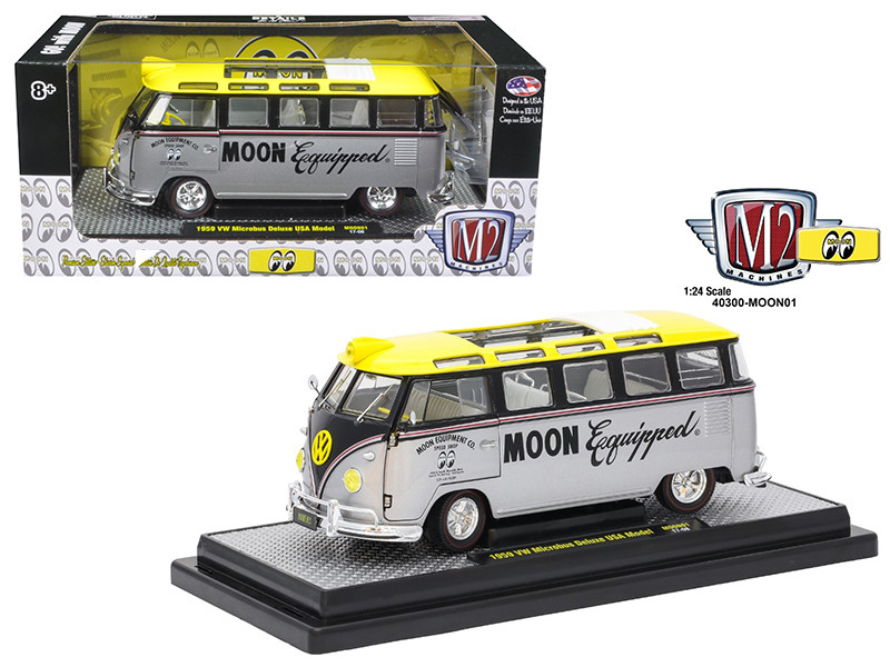 1959 Volkswagen Microbus Deluxe USA Model Mooneyes 1/24 Diecast Model Car M2 Machines 40300-MOON01B