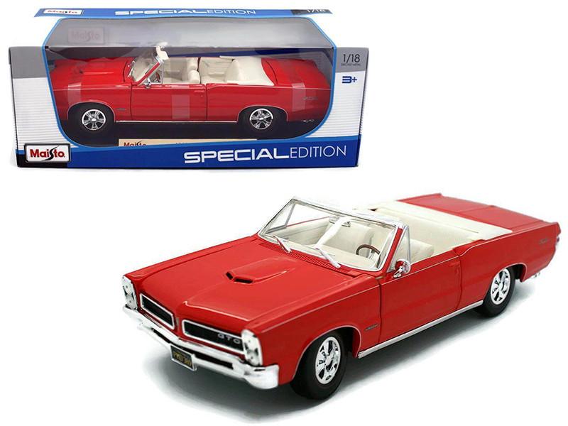 1965 Pontiac GTO Convertible Red 1/18 Diecast Model Car Maisto 31884