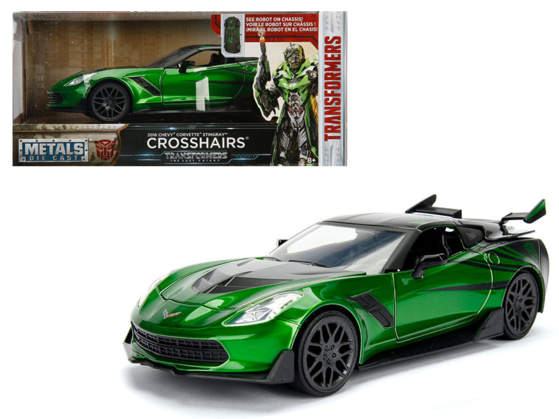 2016 Chevrolet Corvette Crosshairs Green From Transformers Movie 1/24 Diecast Model Car Jada Metals 98499