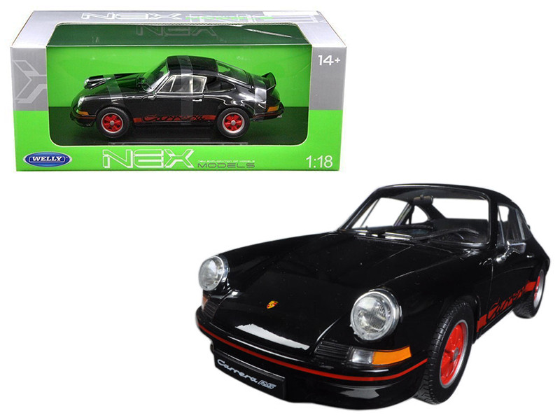 1973 Porsche 911 Carrera RS Black with Red Stripes 1/18 Diecast Model Car Welly 18044