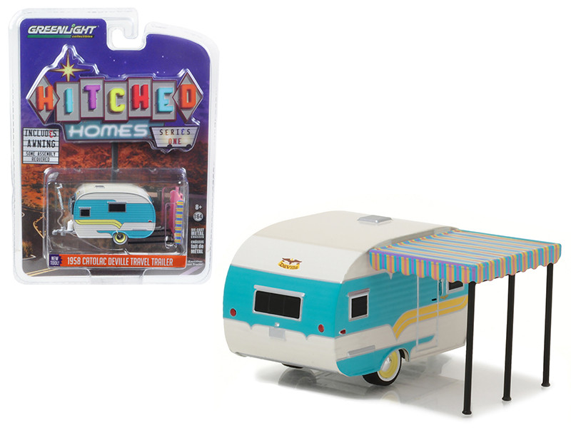 1958 Catolac DeVille Travel Trailer White and Teal 1/64 Diecast Model Greenlight 34010 A