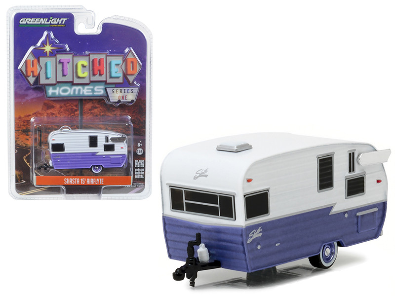 Shasta 15' Airflyte Trailer White and Purple 1/64 Diecast Model Greenlight 34010 E