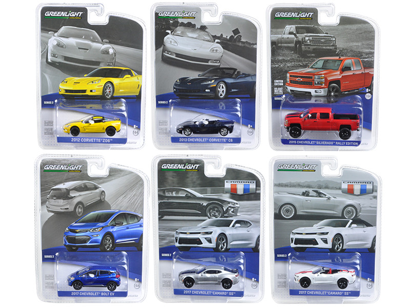 General Motors Collection Series 2 6pc Set 1/64 Diecast Model Cars Greenlight 27875
