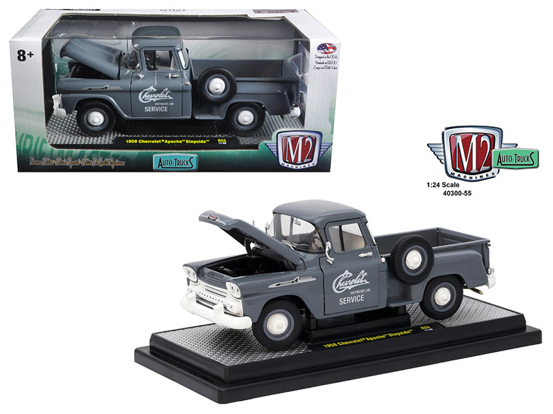 1958 Chevrolet Apache Stepside Truck Granite Gray 1/24 Diecast Model Car M2 Machines 40300-55 A