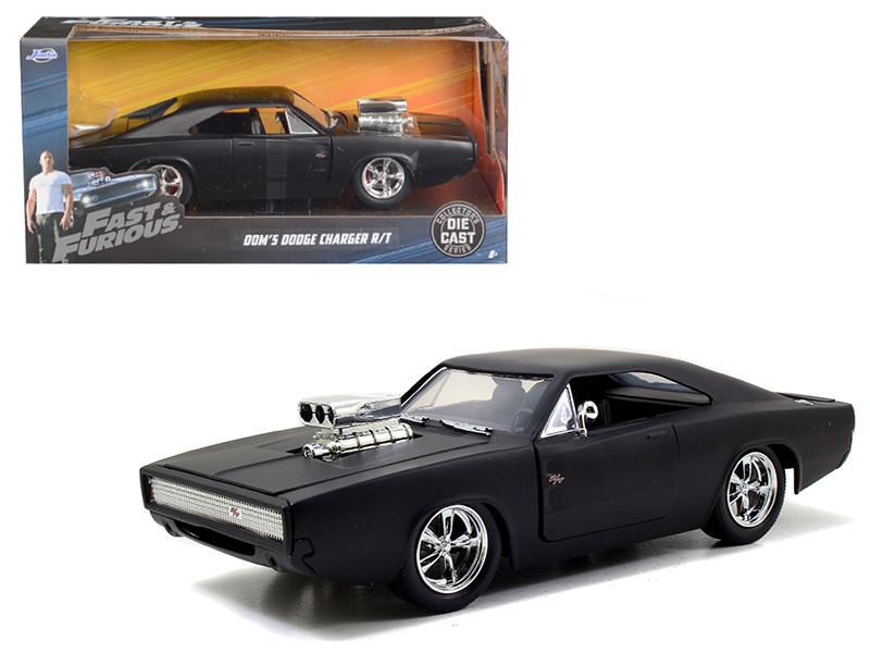 Dom's 1970 Dodge Charger R/T Matt Black Fast & Furious Movie 1/24 Diecast Model Car Jada 97174