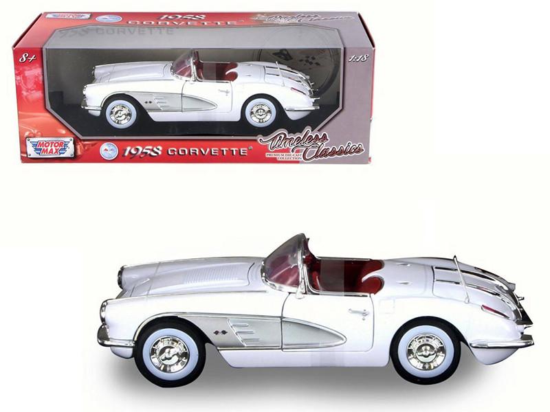 1958 Chevrolet Corvette White Timeless Classics 1/18 Diecast Model Car Motormax 73109