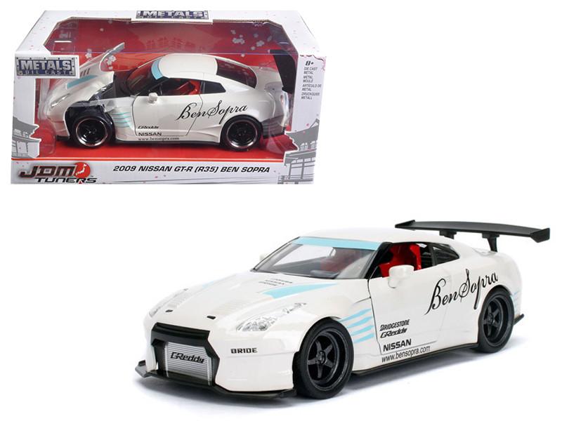 2009 Nissan GT-R R35 Ben Sopra White JDM Tuners 1/24 Diecast Model Car Jada 98569