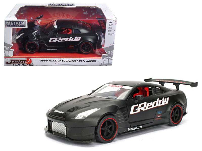 2009 Nissan GT-R R35 Ben Sopra Matt Black JDM Tuners 1/24 Diecast Model Car Jada 98646
