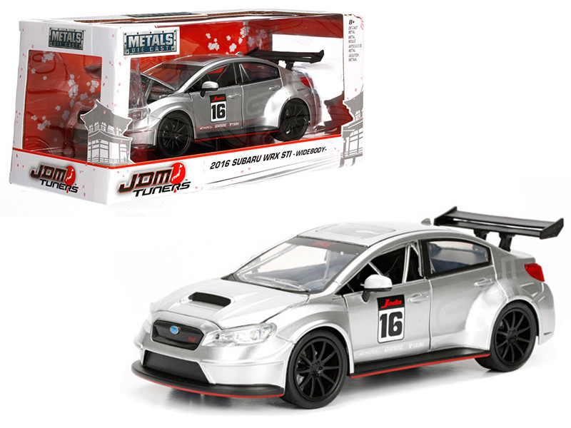 2016 Subaru WRX STI Widebody Silver #16 JDM Tuners 1/24 Diecast Model Car Jada 99092