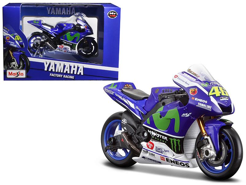 Yamaha YZR-M1 #46 2016 Moto GP Valentino Rossi Motorcycle Model 1/18 Maisto 34590 VR