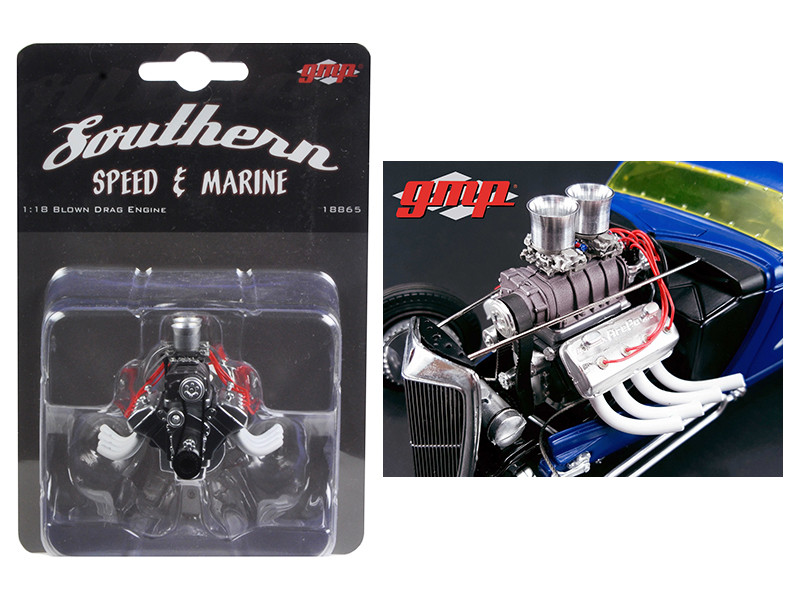 Blown Altered Drag Engine and Transmission Replica from 1934 Blown Altered Coupe 1/18 GMP 18865