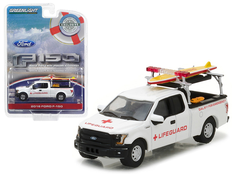 2016 Ford F-150 with Lifeguard Accessories Hobby Exclusive 1/64 Diecast Model Car Greenlight 29899
